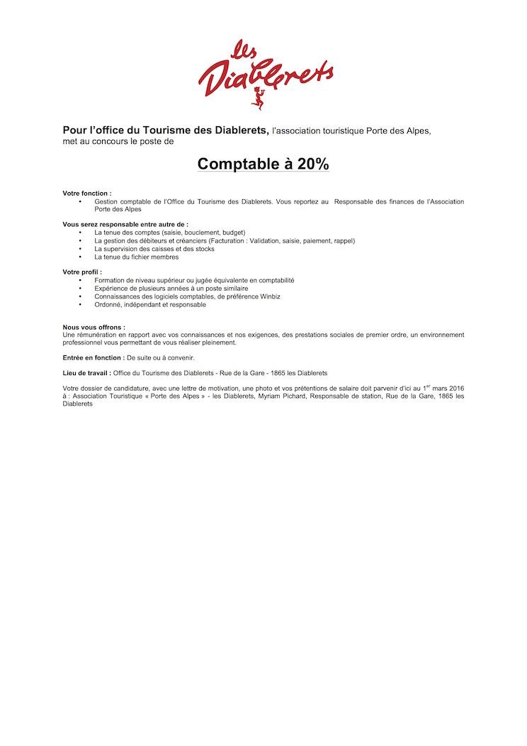 Office du tourisme des diablerets offre d 39 emploi de - Offre d emploi directeur office de tourisme ...