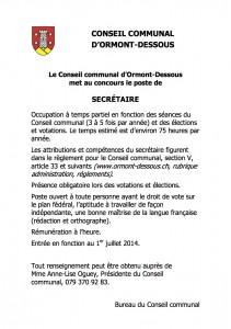 Annonce_secretaire_Conseil communal_2014