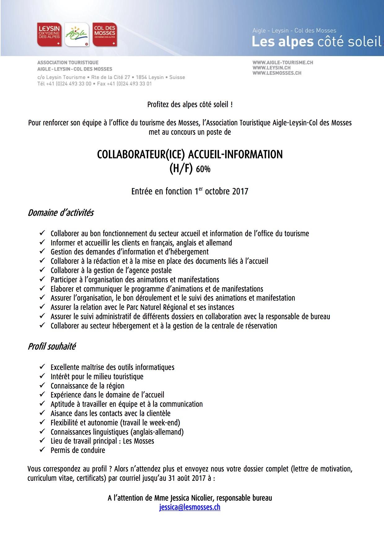 Offre d 39 emploi l 39 office du tourisme aigle leysin col des mosses cherche collaborateur h f - Office du tourisme recrutement ...